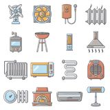 Heat cool air flow tools icons set, cartoon style. Heat cool air flow tools icons set. Cartoon illustration of 16 heat cool air flow tools vector icons for web Royalty Free Stock Photos