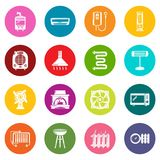 Heat cool air flow tools icons set colorful circles vector. Heat cool air flow tools icons set vector colorful circles isolated on white background Royalty Free Stock Image