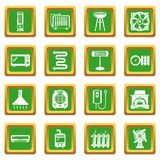 Heat cool air flow tools icons set green square vector. Heat cool air flow tools icons set vector green square isolated on white background Stock Photography