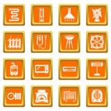 Heat cool air flow tools icons set orange square vector. Heat cool air flow tools icons set vector orange square isolated on white background Royalty Free Stock Image