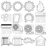 Heat cool air flow tools icons set, outline style. Heat cool air flow tools icons set. Outline illustration of 16 heat cool air flow tools vector icons for web Royalty Free Stock Image