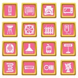 Heat cool air flow tools icons set pink square vector. Heat cool air flow tools icons set vector pink square isolated on white background Royalty Free Stock Photo