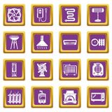 Heat cool air flow tools icons set purple square vector. Heat cool air flow tools icons set vector purple square isolated on white background Royalty Free Stock Photos