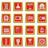 Heat cool air flow tools icons set red square vector. Heat cool air flow tools icons set vector red square isolated on white background Royalty Free Stock Images