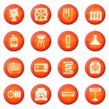 Heat cool air flow tools icons set red vector. Heat cool air flow tools icons set vector red circle isolated on white background Royalty Free Stock Photography