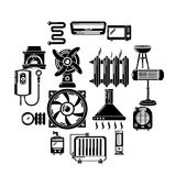 Heat cool air flow tools icons set, simple style. Heat cool air flow tools icons set. Simple illustration of 16 heat cool air flow tools vector icons for web Stock Images
