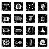 Heat cool air flow tools icons set grunge vector. Heat cool air flow tools icons set vector grunge isolated on white background Royalty Free Stock Photos