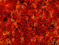 Heat cracked ground texture after eruption volcano Royalty Free Stock Photography
