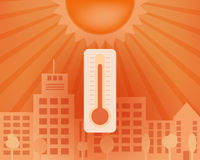 Hot day in the city with thermometer. Vector summer concept. stock illustration