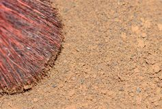 Heat-dried ground, close-up dry coffee grounds and brush. Heat-dried ground, close-up dry coffee grounds and brush stock photography