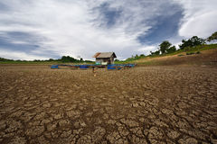 Heat , drought parched ground . Heat , drought parched ground on dry river Stock Photos