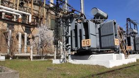 Heat electropower station. Transformers. Outdoor switchgear stock video