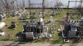 Heat electropower station. Transformers. Outdoor switchgear Stock Images