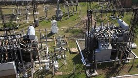 Heat electropower station. Transformers. Outdoor switchgear Stock Photos