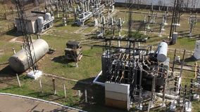Heat electropower station. Transformers. Outdoor switchgear stock video footage