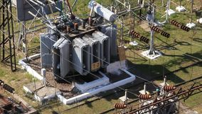 Heat electropower station. Transformers. Outdoor switchgear Royalty Free Stock Photography