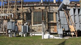 Heat electropower station. Transformers. Outdoor switchgear Stock Image
