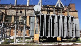 Heat electropower station. Transformers. Outdoor switchgear stock footage