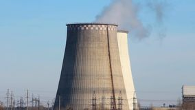 Heat electropower station. Water-cooling towers stock video footage