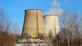 Heat electropower station. Water-cooling towers stock video