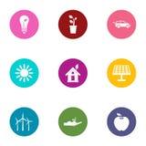 Heat energy icons set, flat style. Heat energy icons set. Flat set of 9 heat energy vector icons for web isolated on white background stock illustration