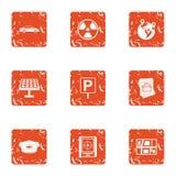 Heat energy icons set, grunge style. Heat energy icons set. Grunge set of 9 heat energy vector icons for web isolated on white background stock illustration