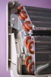 Heat Exchanger. Aluminum heat exchanger with copper pipes Stock Image