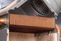 Heat exchanger is a gas boiler Stock Photo
