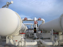 Heat exchangers in a refinery. The equipment for oil refining Royalty Free Stock Photos
