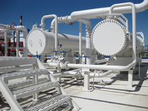 Heat exchangers in a refinery Royalty Free Stock Image