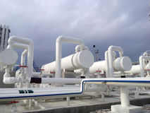Heat exchangers in a refinery. The equipment for oil refining Stock Photography