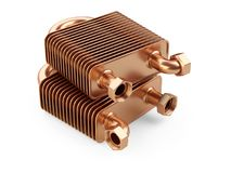 Heat exchangers with tubes for connection of Industrial cooling Stock Images