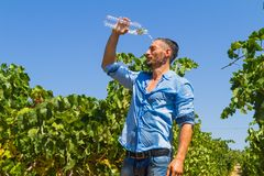 Heat exhausted young farmer cooling himself in Stock Photography