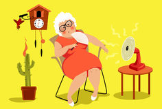 Heat exhaustion danger. Mature woman sitting in her house in a very hot summer day, suffering a heat stroke, EPS 8 vector illustration, no transparencies royalty free illustration