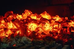 Heat after the fire. Orbs of orange in the oven royalty free stock photography