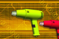 Heat gun. Electric heat gun in color background Stock Photography