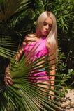 Heat. Heat. Beautiful girl in the jungle. Royalty Free Stock Photos