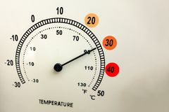 Heat and high hot temperature concept. Face of thermometer with scale and needle. Worm weather in summer. Health concerns or royalty free stock photo