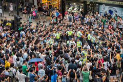 Heat of Hong Kong Protesters. A scene of standoff by pro-democracy protesters royalty free stock images