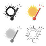 Heat icon in cartoon style isolated on white background. Weather symbol stock vector illustration. Heat icon in cartoon style isolated on white background Royalty Free Stock Images