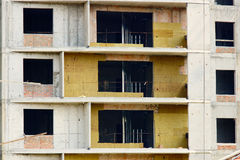 Heat insulation installation. In a new building Royalty Free Stock Photography
