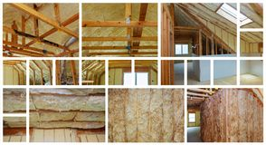 Heat isolation in new prefabricated house with mineral wool and wood. photo collage. Heat isolation in a new prefabricated house with mineral wool and wood Royalty Free Stock Photo
