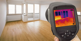 Heat Leak Infrared Detection. Thermal Image of Heat Leak thru Windows Royalty Free Stock Photo