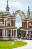 Heat  Moscow  Ensemble Tsaritsyno  Gallery-fence with a gate  Architect Bazhenov  1784-1785 Royalty Free Stock Photo