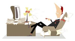 Heat in the office, man, table fan and a cup of coffee or tea illustration Stock Photos