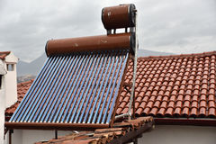 Heat Pipe Solar Collector at Rooftop Royalty Free Stock Photography