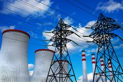 Heat and Power Engineering concept. Colorful view of the electricity plant stock illustration
