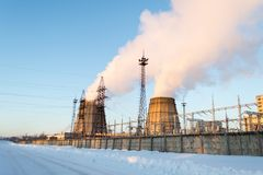 Heat power station. In winter Royalty Free Stock Photos