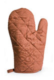 Heat protective mitten. Quilted brown heat protective mitten isolated over white royalty free stock photo