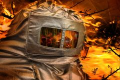 Heat protective suit of a firefighter Royalty Free Stock Images